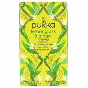 Pukka Herbs, Органическая смесь лемонграсса и имбиря, без кофеина, 20 пакетиков с травяным чаем, 36 г