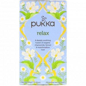Pukka Herbs, Расслабление, без кофеина, 20 пакетиков травяного чая, 1,41 унц. (40 г)