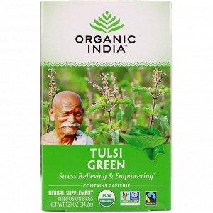 Organic India, Чай с тулси, зеленый, 18 пакетиков, 34,2 г (1,21 унции)