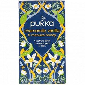 Pukka Herbs, Chamomile, Vanilla & Manuka Honey Tea, 20 Herbal Tea Sachets, 0.05 oz (1.6 g)