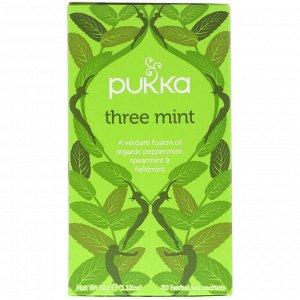 Pukka Herbs, Three Mint, Caffeine Free, 20 Herbal Tea Sachets, 1.12 oz (32 g)