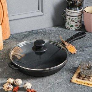 Сковорода чугунная литая, 220 х 40 мм, со стеклянной крышкой, премиум набор