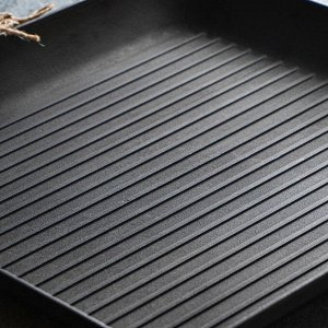Сковорода чугунная квадрат гриль, 350 х 350 х 40 мм, премиум набор