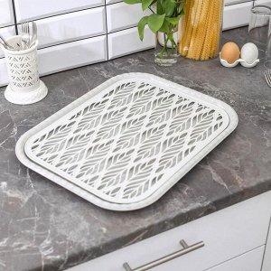 Поднос с вкладышем для сушки посуды Альт-Пласт «Колос», 45,5x36 см, цвет МИКС