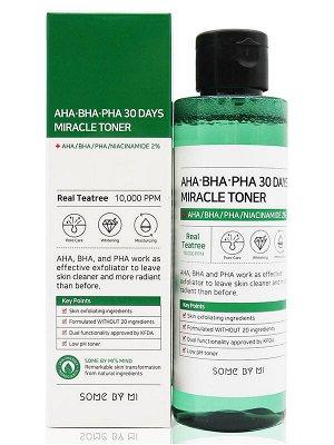Some by mi AHA /BHA/PHA 30 Days Miracle Toner Кислотный очищающий тоник для проблемной кожи 150 мл