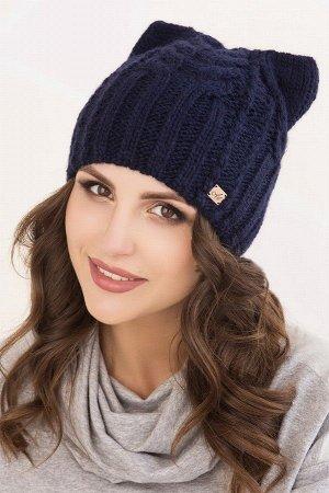 Женская шапка ушки Регина Синий Темный