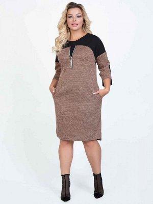 Платье Платье полуприлегающего силуэтавыполнено из комбинированного трикотажного полотна. - круглая горловина на внутренней обтачке - котрастная кокетка по переду декорирована металлической молнией -