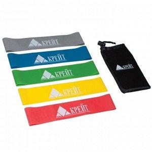 Эспандер резиновый для занятий йогой, функциональным тренингом, набор из 5 шт в сумочке