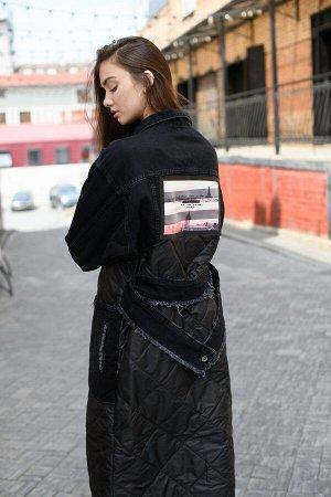 Комбинированное пальто в черном цвете