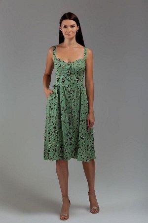 Сарафан Хлопок 100% Рост: 164 см. платье –сарафан приталенного силуэта из х/б ткани, отрезное по линии талии. Лиф платья с рельефами по переду и спинке. Юбка колокол с мягкой сборкой по талии и карман