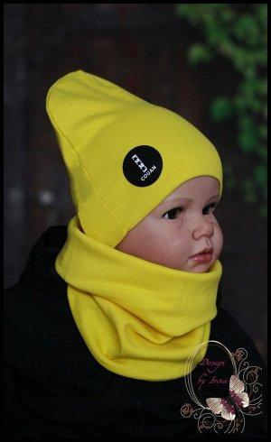 Шапка для мальчика удлиненная хлопковая «COUAN» желтая