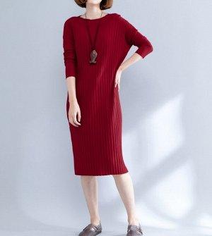 Трикотажное платье, красный