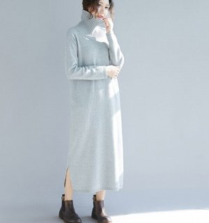 Платье вязаное, серый