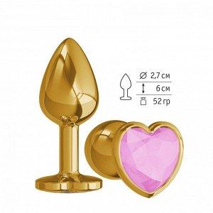 Небольшая золотая анальная втулка с розовым кристаллом в виде сердца Джага