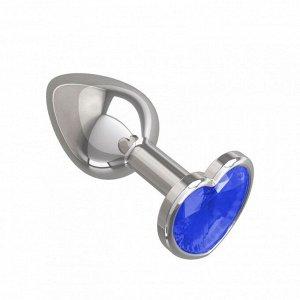 Небольшая анальная втулка с синим кристаллом в виде сердца Джага