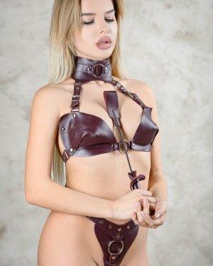 Кожаный стек бордо BDSM Арсенал