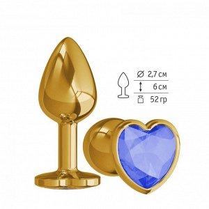 Небольшая золотая анальная втулка с синим кристаллом в виде сердца Джага