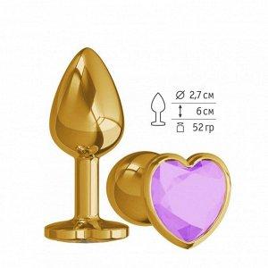 Небольшая золотая анальная втулка с сиреневым кристаллом в виде сердца Джага