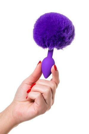 Малая фиолетовая анальная втулка с пушистым хвостом Sweet Bunny