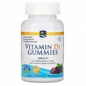 Nordic Naturals, Жевательные таблетки с витамином D3, со вкусом лесных ягод, 1000 МЕ, 60 шт.