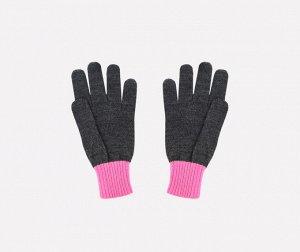 Перчатки детские Crockid К 144 темно-серый меланж, ярко-розовый