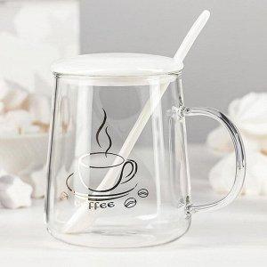 Кружка «Кофе», 500 мл, с керамической крышкой и ложкой, рисунок МИКС