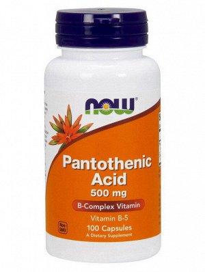 NOW Pantothenic Acid Пантотеновая кислота 500 мг