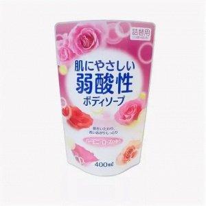 Жидкое мыло пониженной кислотности для тела аромат роз  сменная упаковка400ML