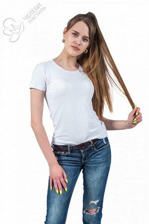 Футболка Футболка женская с круглой горловиной и коротким рукавом. Выполнена из гладкокрашенной ткани. Состав ткани: 95% хлопок, 5% лайкра.