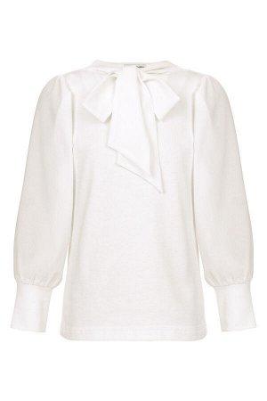 Блузка трикотажная с рукавами из шифона и бантом BORELLI