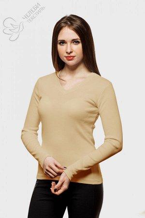 Джемпер Джемпер женский с V-образной горловиной и длинным рукавом. Выполнен из гладкокрашенной ткани (в рубчик). Состав — 95% хлопок, 5% лайкра Плотность — 230 г/м2 Оттенок цвета изделий может отличат