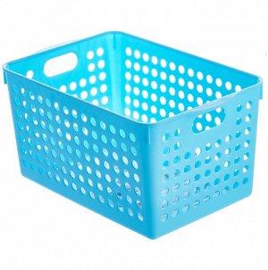 Корзинка квадратная большая пластиковая голубая 14,9*22,9*14см
