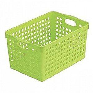 Корзинка квадратная большая пластиковая зеленая 14,9*22,9*14см