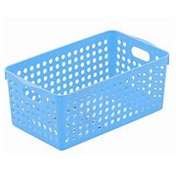 Корзинка квадратная средняя пластиковая синяя 14,3*25,5*11,3см