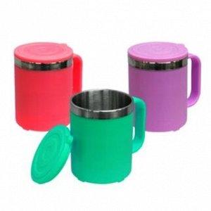 Кружка термо 90*100*70 мм, 1шт 220 мл (на выбор 3 цвета: салатовый, малиновый, шоколадный, по цвету уточнять))