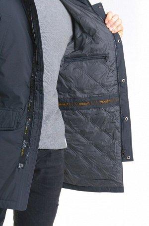 Демисезонная мужская удлиненная ВЕТРОВКА с капюшоном, цвет Темно-серый