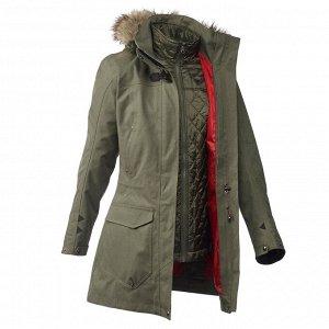 Куртка 3 в 1 для путеш. при темп. до -10°C водонепр.жен. TRAVEL 700 цвет хаки FORCLAZ