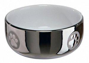 Миска керамика 0,300 л/11см, серебряная/белая