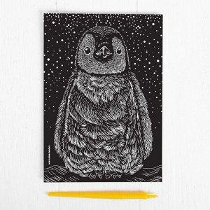 Гравюра «Пингвин» с металлическим эффектом «серебро» А5