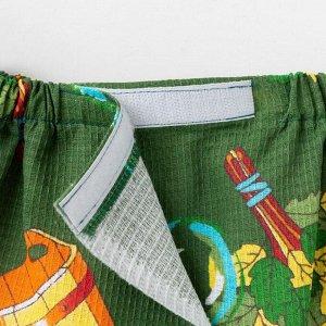 Килт для сауны муж (65х150), Баня темно-зел. ваф.полотно 160г/м, хл100%