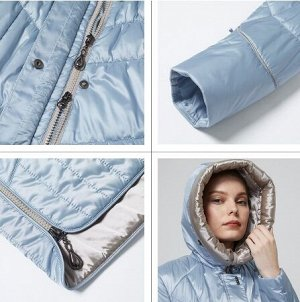 Женская демисезонная куртка с капюшоном, цвет голубой