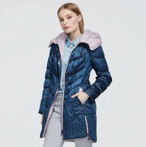 Женская демисезонная куртка с капюшоном, цвет синий