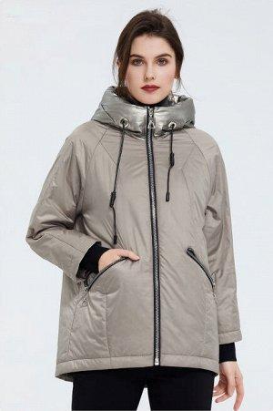 Демисезонная женская куртка с капюшоном, цвет кэмал