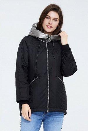 Демисезонная женская куртка с капюшоном, цвет ЧЕРНЫЙ