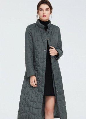 Женское демисезонное легкое пальто с воротником-стойкой ХИТ ПРОДАЖ, цвет серо-зеленый