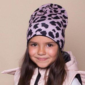 Шапка для девочки, цвет чёрный/леопард, размер 46-50