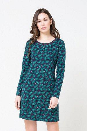 Платье(Осень-Зима)+mom (сумеречно-синий, еловые веточки)