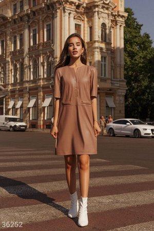 Оригинальное кожаное платье