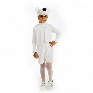 Карнавальный костюм «Белый медвежонок», жилет, шорты, маска-шапочка, р. 30-32, рост 122 см
