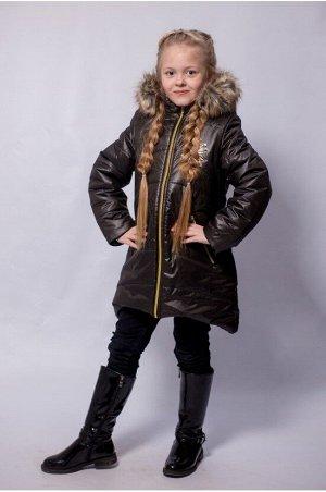 """Зимнее пальто """"лолла"""" цвет черное/золото"""